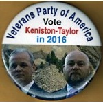3rd Party 12L - Veterans Party of America Vote Keniston Taylor In 2016  Campaign Button